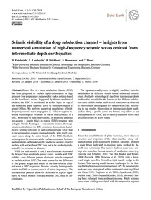Seismic Visibility of a Deep Subduction ... by Friederich, W.