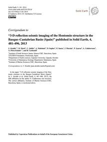 Corrigendum to 3-d Reflection Seismic Im... by Alcalde, J.
