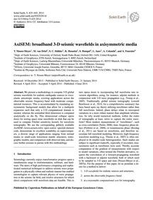 Axisem: Broadband 3-d Seismic Wavefields... by Nissen-meyer, T.