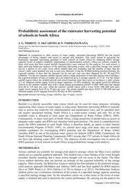 Probabilistic Assessment of the Rainwate... by Ndiritu, J. G.