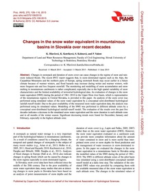 Changes in the Snow Water Equivalent in ... by Hlavčová, K.