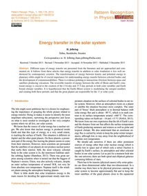 Energy Transfer in the Solar System : Vo... by Jelbring, H.