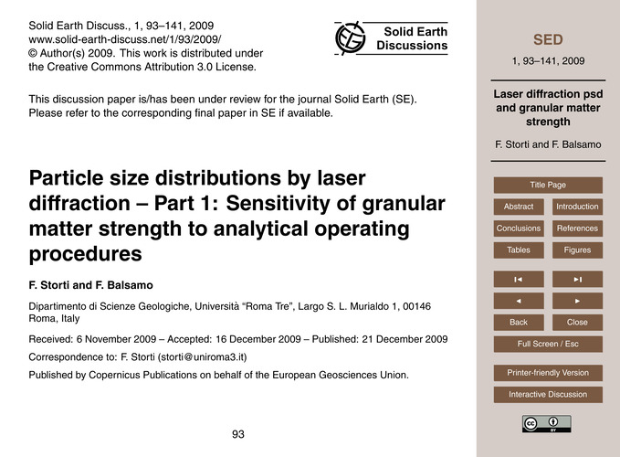 Particle Size Distributions by Laser Dif... by Storti, F.