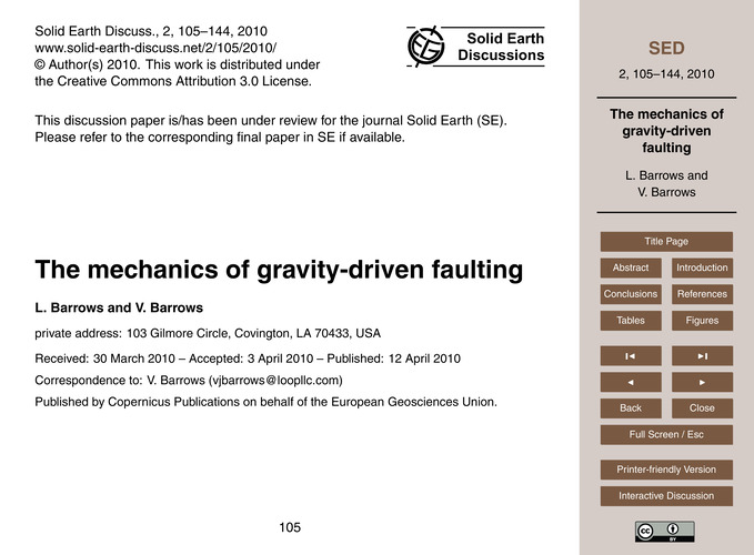 The Mechanics of Gravity-driven Faulting... by Barrows, L.