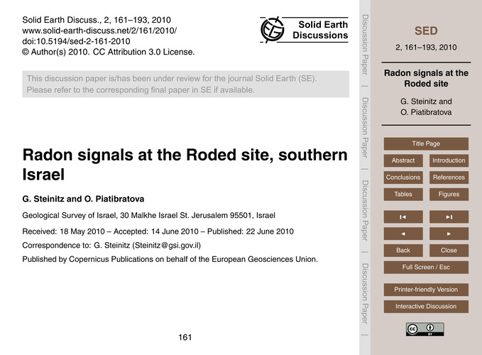 Radon Signals at the Roded Site, Souther... by Steinitz, G.