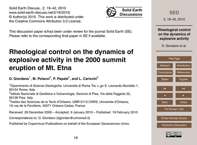 Rheological Control on the Dynamics of E... by Giordano, D.
