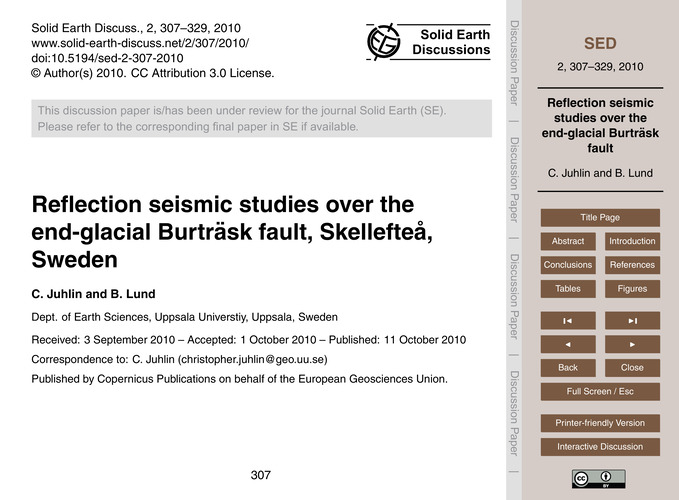 Reflection Seismic Studies Over the End-... by Juhlin, C.