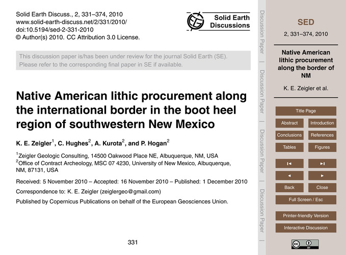 Native American Lithic Procurement Along... by Zeigler, K. E.