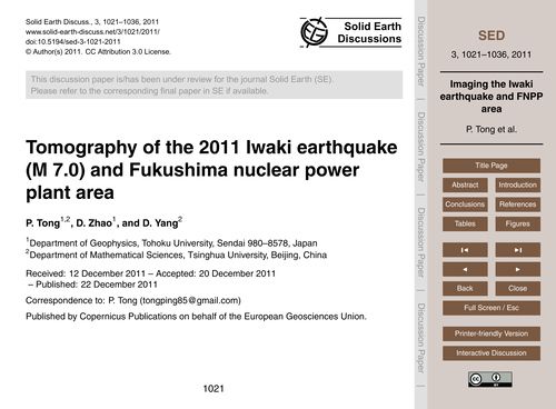 Tomography of the 2011 Iwaki Earthquake ... by Tong, P.