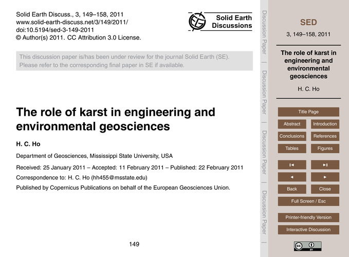 The Role of Karst in Engineering and Env... by Ho, H. C.