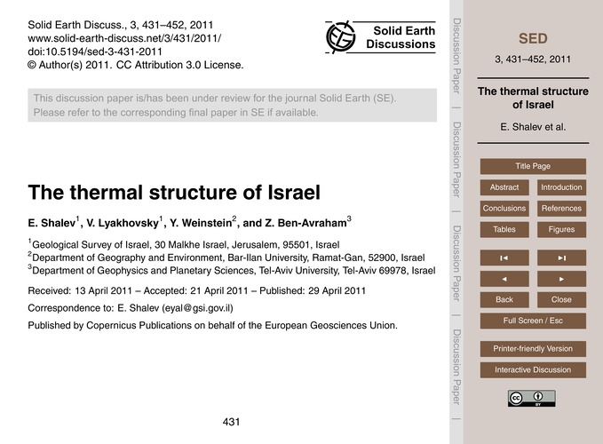 The Thermal Structure of Israel : Volume... by Shalev, E.
