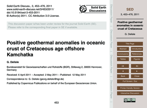 Positive Geothermal Anomalies in Oceanic... by Delisle, G.