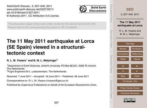 The 11 May 2011 Earthquake at Lorca (SE ... by Vissers, R. L. M.