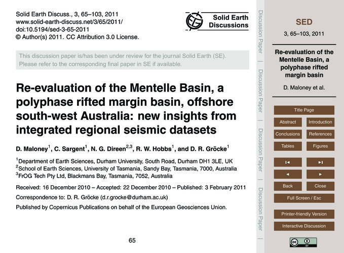 Re-evaluation of the Mentelle Basin, a P... by Maloney, D.