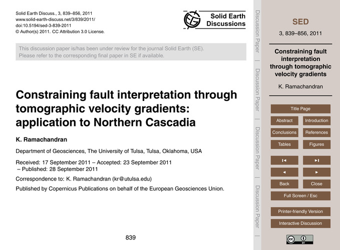 Constraining Fault Interpretation Throug... by Ramachandran, K.