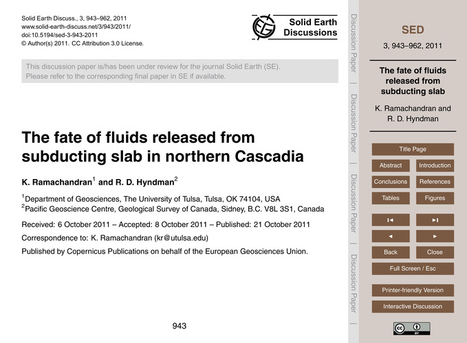 The Fate of Fluids Released from Subduct... by Ramachandran, K.