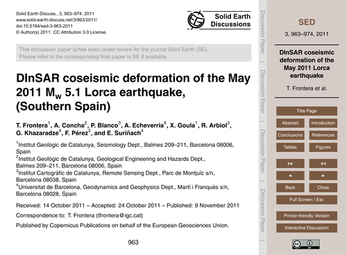 Dinsar Coseismic Deformation of the May ... by Frontera, T.