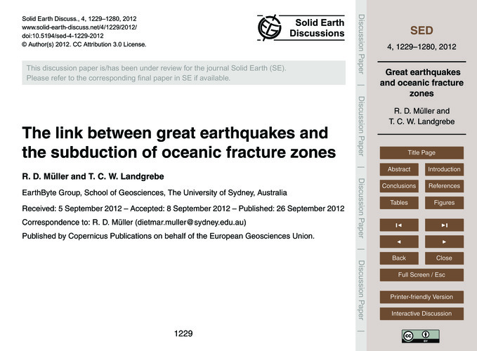 The Link Between Great Earthquakes and t... by Müller, R. D.