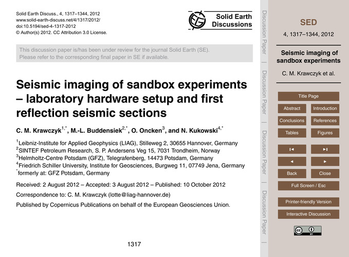Seismic Imaging of Sandbox Experiments –... by Krawczyk, C. M.