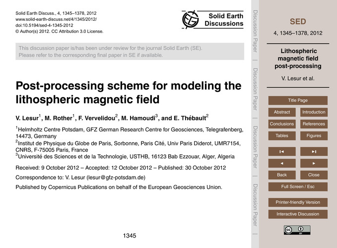 Post-processing Scheme for Modeling the ... by Lesur, V.