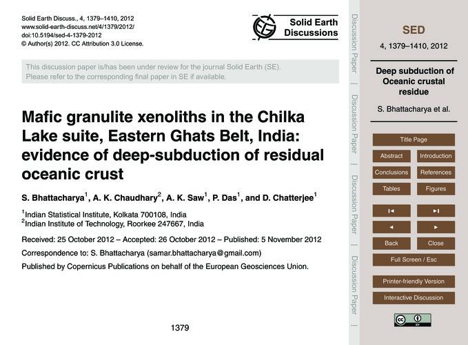 Mafic Granulite Xenoliths in the Chilka ... by Bhattacharya, S.