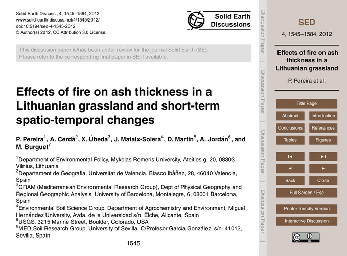 Effects of Fire on Ash Thickness in a Li... by Pereira, P.