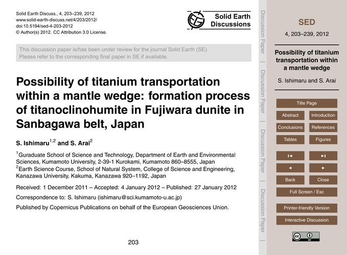 Possibility of Titanium Transportation W... by Ishimaru, S.
