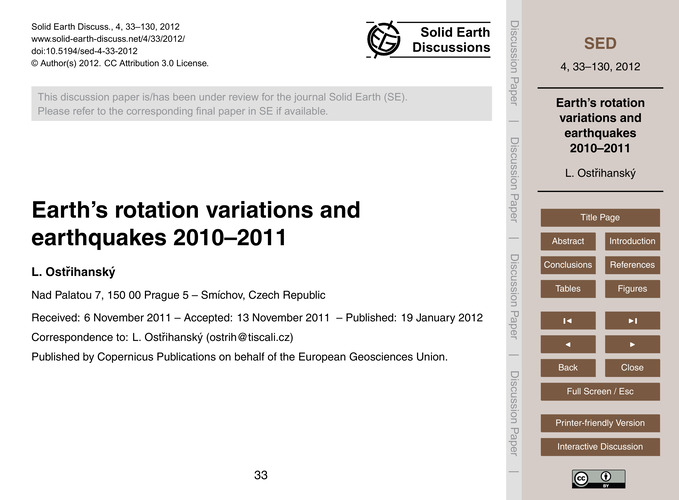 Earth's Rotation Variations and Earthqua... by Ostřihanský, L.