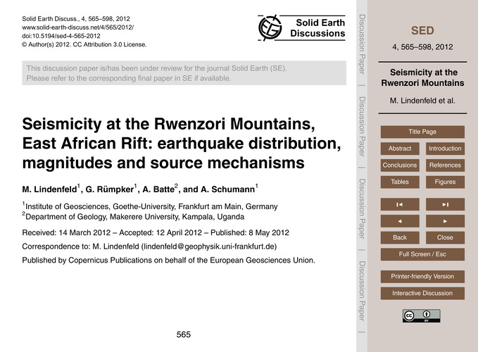 Seismicity at the Rwenzori Mountains, Ea... by Lindenfeld, M.