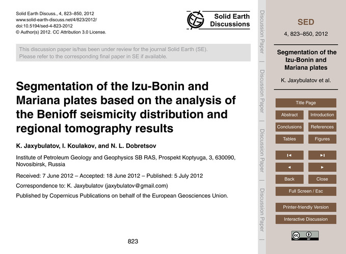 Segmentation of the Izu-bonin and Marian... by Jaxybulatov, K.