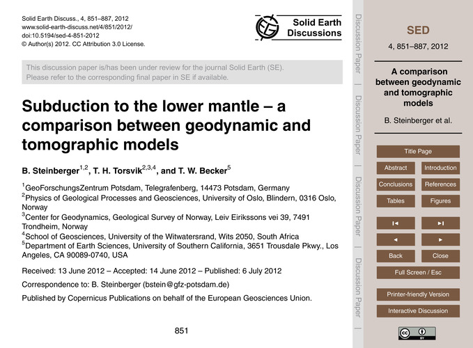 Subduction to the Lower Mantle – a Compa... by Steinberger, B.