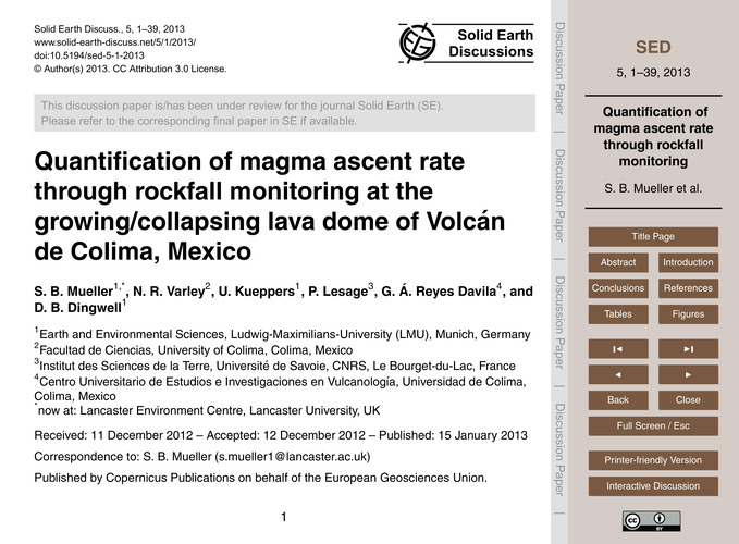 Quantification of Magma Ascent Rate Thro... by Mueller, S. B.