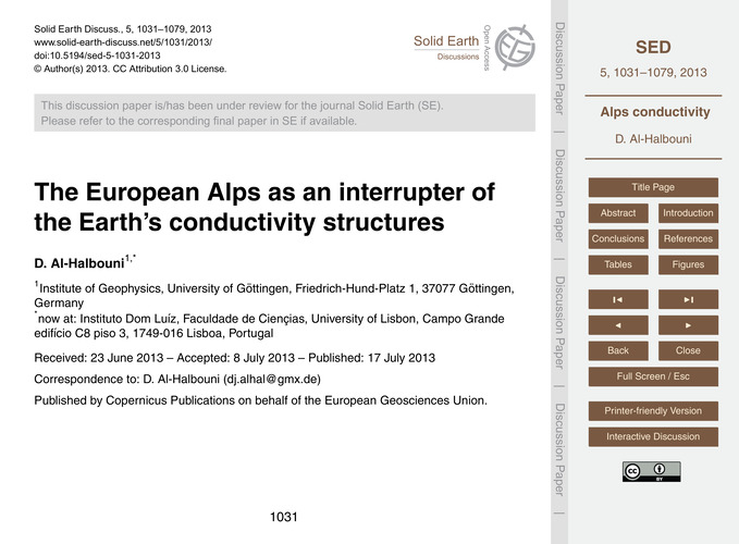 The European Alps as an Interrupter of t... by Al-halbouni, D.