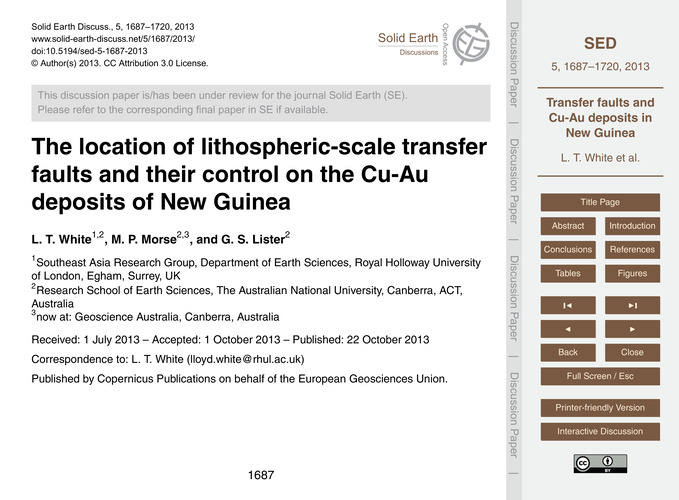 The Location of Lithospheric-scale Trans... by White, L. T.