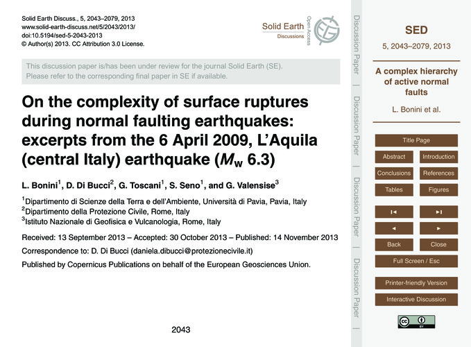 On the Complexity of Surface Ruptures Du... by Bonini, L.