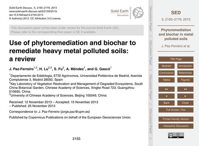 Use of Phytoremediation and Biochar to R... by Paz-ferreiro, J.