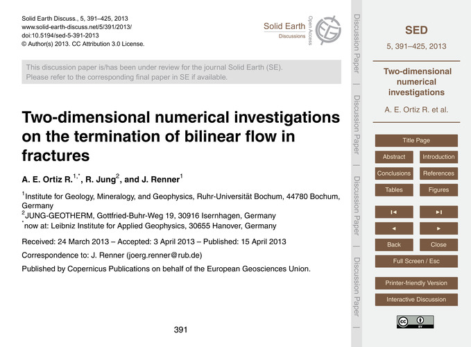 Two-dimensional Numerical Investigations... by A. E. Ortiz R., R.