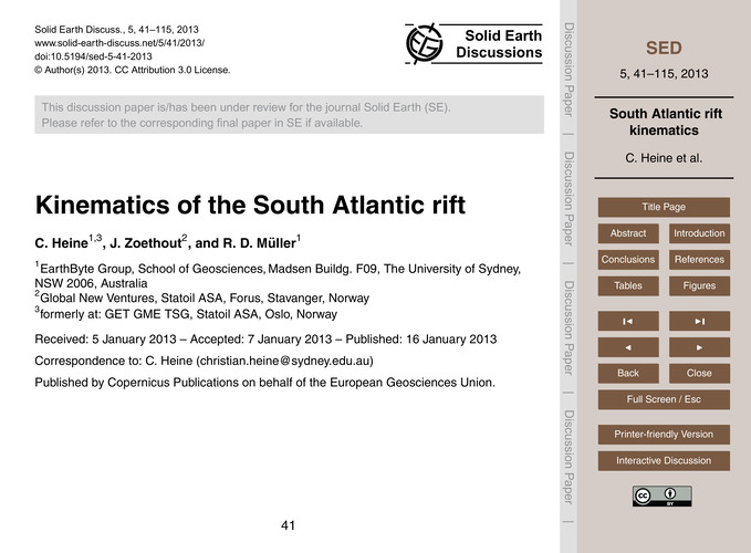 Kinematics of the South Atlantic Rift : ... by Heine, C.