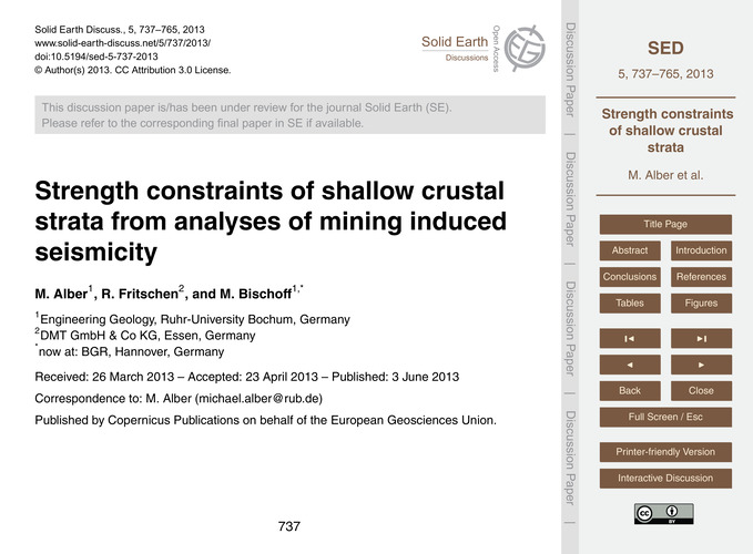Strength Constraints of Shallow Crustal ... by Alber, M.