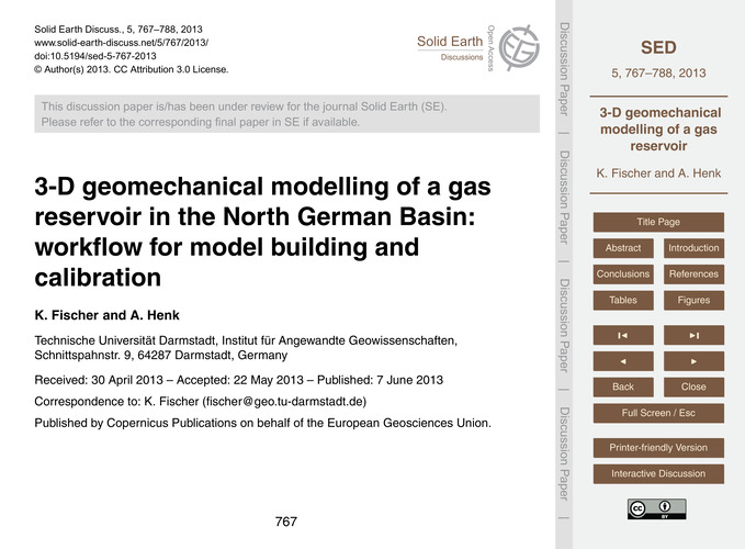 3-d Geomechanical Modelling of a Gas Res... by Fischer, K.