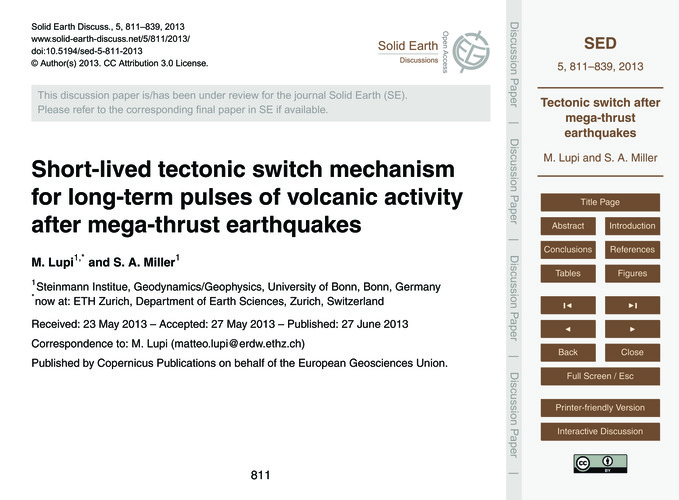 Short-lived Tectonic Switch Mechanism fo... by Lupi, M.