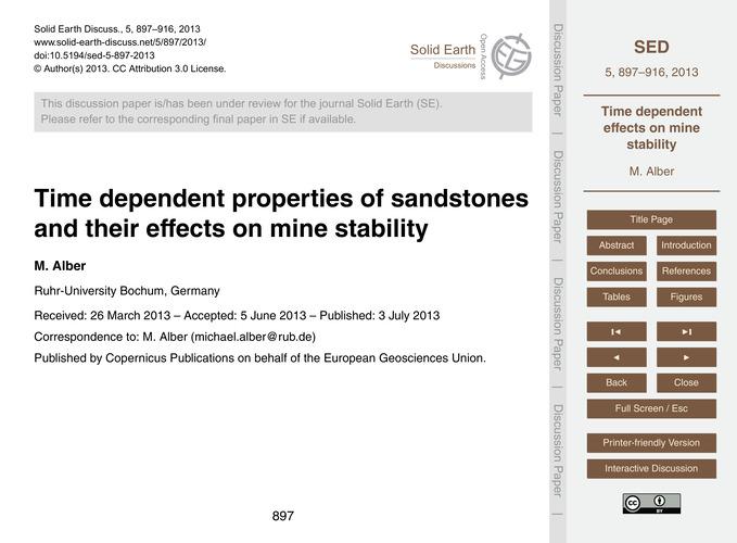 Time Dependent Properties of Sandstones ... by Alber, M.