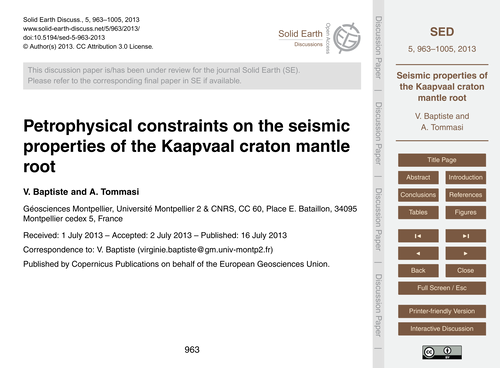 Petrophysical Constraints on the Seismic... by Baptiste, V.