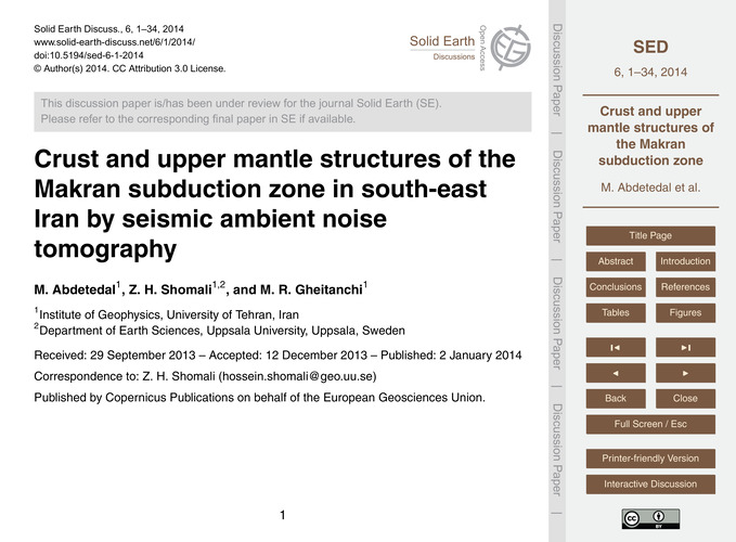 Crust and Upper Mantle Structures of the... by Abdetedal, M.