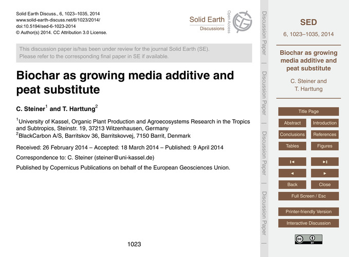Biochar as Growing Media Additive and Pe... by Steiner, C.