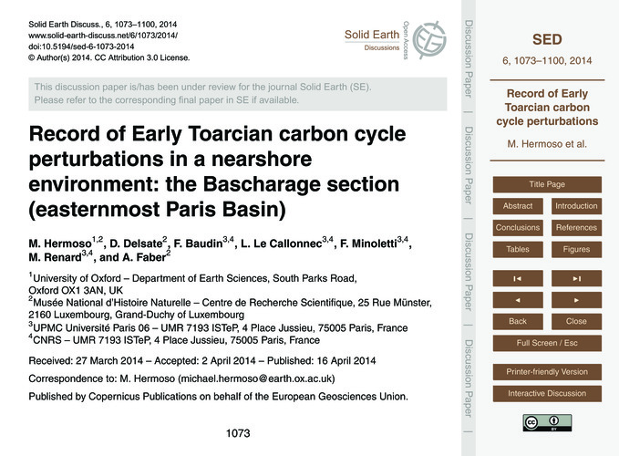 Record of Early Toarcian Carbon Cycle Pe... by Hermoso, M.
