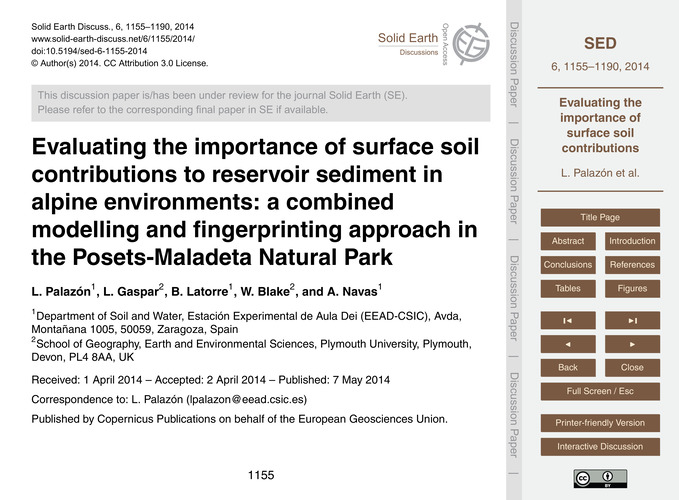 Evaluating the Importance of Surface Soi... by Palazón, L.