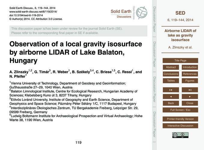 Observation of a Local Gravity Isosurfac... by Zlinszky, A.