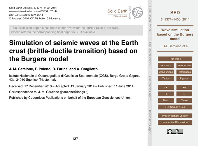 Simulation of Seismic Waves at the Earth... by Carcione, J. M.
