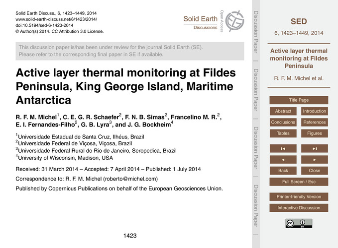 Active Layer Thermal Monitoring at Filde... by Michel, R. F. M.